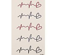 1 Tatuagem Adesiva Outros cardiogram Flash do tatuagem Tatuagens temporárias