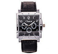 Men's Black PU Leather Band Chance Analog Quartz Wrist Watch