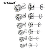 D Exceed New Style Cubic Zirconia Studs for Women and Men Hot-selling Earring Sets 6 Pairs