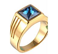 Муж. Массивные кольца Мода По заказу покупателя бижутерия Стразы Титановая сталь В форме квадрата Бижутерия Назначение Для вечеринок