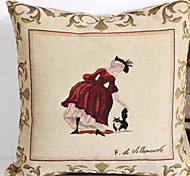 Linen Pillow Cover/Case   Woven Traditional/Classic Young Girl  Feature