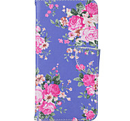 Purple Flower Pattern Material PU Card Holder Leather for  iPhone 7 7 Plus 6s 6 Plus SE 5s 5 5C 4S