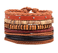 Unisex Fashion Jewelry Gift Handmade Adjustable Strand Wristband Leather Bracelet Set Casual/Daily Women Men