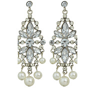 Wedding Jewelry Rhinestone Pearl Flower Chandelier Earrings