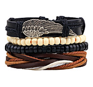 Unisex Fashion Jewelry Gift Alloy Wings Handmade Adjustable Strand Wristband Leather Bracelet Casual/Daily Women Men