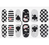 Fashion Poker Style Glitter Silver and Black Nail Decal Art Sticker Gel Polish Manicure