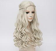 Мотив белый королева косплей Хэллоуин природные волны костюм парик Энн Хэтэуэй парики