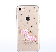 Handmade Rhinestone Pink Zebra Pattern PC Hard Case for iPhone 7 7 Plus 6s 6 Plus SE 5s 5 4s 4
