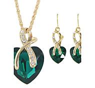 Rhinestone Heart Shape Pendant Necklaces Earrings Set