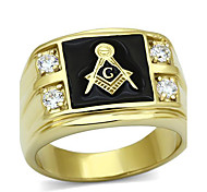 Men's Stainless Steel CZ Masonic Ring AAA Quality Cubic Zirconia Ionic Gold Plated Environmental Material Lead Free Christmas Gifts