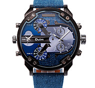 Men's Wrist watch Quartz Dual Time Zones Leather Band Cool Casual Black Blue Brown Brand