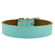 Dog Collar Adjustable/Retractable Solid Red / Black / Blue / Brown / Pink Genuine Leather
