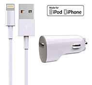 Conjunto de Carregador Carregador de Automotivo Other 1 porta USB com cabo For iPhone(5V , 1A)