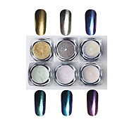 Laser Color Change Long Fine Powder Mirror Effect With Paint Brush 6 Color One Set