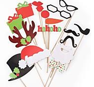 17pcs фото реквизита орнаменты рождества колпачок& красные губы& усы
