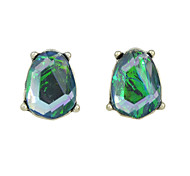 Fashion Green Rhinestone Stud Earrings