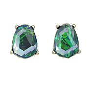 Fashion Green Rhinestone Stud Earrings