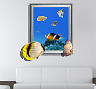 3d наклейки стены подводный мир отверстие ПВХ материал стены декоративные наклейки кожи