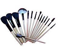 15 Makeup Brushes Set Goat Hair / Weasel Portable Wood Face G.R.C