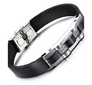 Kalen® 2016 New Leather Bracelet Fashion 316 Stainless Steel Charm Bracelet Men's Fashion Accessory Gift For Boyfriend