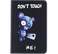PU Leather Material Blue Bear Embossed Pattern Flat Protective Cover for iPad Mini 123 4