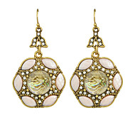 Fashion Rhinestone Flower Big Drop Earrings