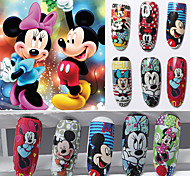 12pcs Cartoon Water Transfer Nail Stick Mickey Series