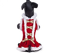 Cat Dog Costume Dress Dog Clothes Cosplay Christmas New Year's Bowknot Ruby
