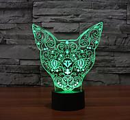 Кошка с сенсорным затемнением 3D LED ночь свет 7colorful украшения атмосфера новизны светильника освещения свет рождества