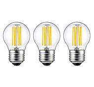 6W E26/E27 Ampoules à Filament LED G45 6 COB 560 lm Blanc Chaud AC 100-240 V 3 pièces