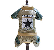 Dog Hoodie / Clothes/Jumpsuit Green / Gold Dog Clothes Winter Stars Fashion