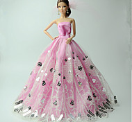 Party/Evening Dresses For Barbie Doll Pink Print Dresses For Girl's Doll Toy