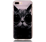 Glasses Cat Pattern HD Painted TPU Material Phone Shell For iPhone 7 7 Plus 6s 6 Plus