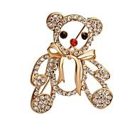 venda quente brilhando urso de cristal com broche bowknot para as mulheres