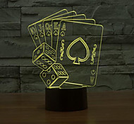 Playing CARDS Touch Dimming 3D LED Night Light 7Colorful Decoration Atmosphere Lamp Novelty Lighting Christmas Light