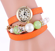 Women's Fashion Watch Quartz Water Resistant/Water Proof PU Band Casual Red / Orange / Brown / Pink / Yellow Brand
