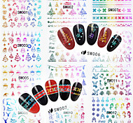 12 Nail Art Sticker New Christmas Strap Glue  Nail Stickers