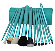12 Makeup Brushes Set Goat Hair Professional / Portable Wood Handle Face/Eye/Lip Blue