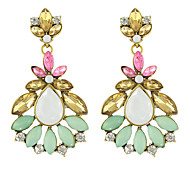 Beautiful Colorful Rhinestone Flower Big Earrings for Women
