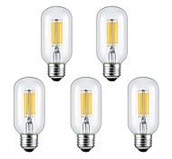 6W E26/E27 Bombillas de Filamento LED 6 COB 560 lm Blanco Cálido / Blanco Fresco V 5 piezas