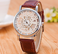 Casual Men's Wrist Watch Skeleton Imitation Mechanical Watch For Women Top Brand Quartz Watches Pu Leather Band