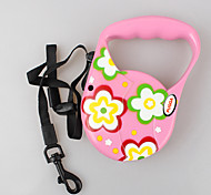 Dog Leash Adjustable/Retractable Flower Red / Green / Blue / Pink Nylon