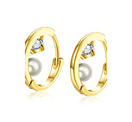 lureme Fine Jewelry 18K Gold Fashion Charms Zircon Pearl Diamond Earrings