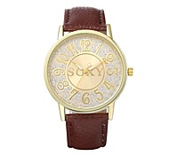 Women's Dress Watch / Fashion Watch Quartz Water Resistant/Water Proof Leather Band Casual Black / White / Brown / Beige Brand
