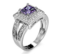 New White Plated Filled Amethyst Ring Sets Vintage Zicron Shaped Ring AAA CZ Diamond Fashion Jewelry For Women Full Size