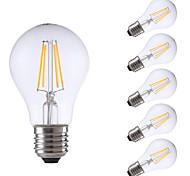 4W E26/E27 Lampadine LED a incandescenza A60(A19) 4 COB 550/400 lm Bianco caldo Luce fredda Intensità regolabile AC 220-240 V 6 pezzi