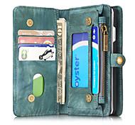 Para Carteira / Porta-Cartão / Antichoque / Flip Capinha Corpo Inteiro Capinha Cor Única Rígida Couro Legitimo para AppleiPhone 7 Plus /