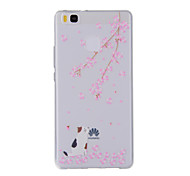 For Huawei Y635 4C 4X 5C 5X P8 P9 P8Lite P9Lite Honor8 Honor7 Honor6 Case Cover Cherry Cat  Painted Pattern TPU Material Phone Case