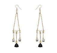 Zircon crystal long Tassel Earrings
