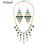 Multi-Colored Fashion Statement Flower Crystal Enamel Alloy Jewelry Set Earring and Necklace for Women XL0473